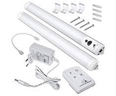 Maclean MCE245 Plafonniers linéaires à LED pour armoire avec télécommande Réglage de la luminosité 240LM Blanc froid [Classe énergétique A] (2 modules set)