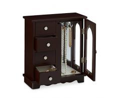 Relaxdays Boîte à bijoux HxlxP: 30 x 26 x 11 cm grande armoire à bijoux en bois avec 4 mini tiroirs et 1 porte avec un miroir commode écrin cintre à bijoux porte-bijoux pour les chaînes, brun foncé