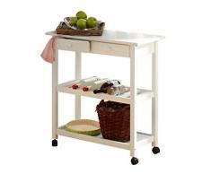LifeStyleDesign 390113 alaska chariot de cuisine 87 x 40 x 80 cm, bois, mDF bemahlt caoutchouc, jambes en bois massif blanc