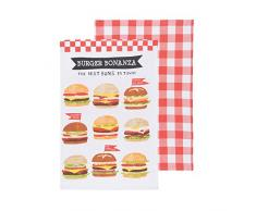 Now Designs torchons, Burger Bonanza Print and Red Plaid, Set of Two