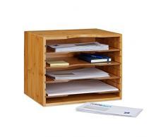 Relaxdays Corbeille à courrier en bambou organiseur de bureau porte-document papier range-documents avec tablettes amovibles différentes hauteurs en bois, nature 26,5 x 33,5 x 24,5 cm
