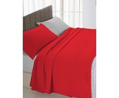 Linge de lit italien de lit Double Rouge/gris 250 x 300 cm