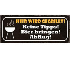 Schatzmix Plaque métallique avec Inscription en Allemand Hier Wird gegrillt Keine Tipps Bier bringen Abflug (Plaque avec Grille) 27 x 10 cm