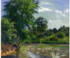 OdsanArt 20 x 17 cm-Impressionism poste autres canards au-dessus dun étang à Montfoucault Par Camille Pissarro haute qualité Fine Art Prints Reproduction de photographie dArt sur toile