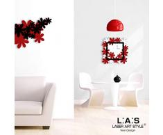 L:A : S Laser Art Style Horloge Murale Design Moderne pour Cuisine Salon séjour SI-207 70x70 cm Bianco-Rosso-Nero
