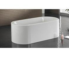 MobilierMoss 1413328 Emiliana Baignoire Îlot Design Ovale Autre Blanc 170x83, 5x58 cm
