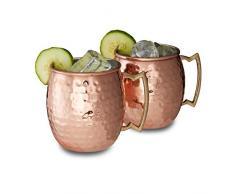 Relaxdays Gobelet tasse mug lot de 2 pour cocktails en inox cuivré 50 cl HxlxP: 9,5 x 8 x 8 cm, cuivré