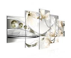 Tableau decoration murale Fleurs Magnolia 200 x 100 cm - XXL Impression sur Toile Salon Appartment 5 Parties - prêt à accrocher - 207251c
