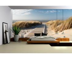 Delester Design Décor mural Papier peint intissé vinyle - Pont de bois sur plage de sable par beau temps