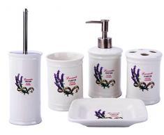 GMMH Maison de Campagne Vintage badset Lavande Salle de Bain Set daccessoires Distributeur de Savon Brosse WC Céramique (Lot de 5)