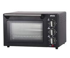 Silva Homeline MB 1400 Four à minibacko 1200 W 14 l réglable jusquà 230 degrés, grande fenêtre de vision, chaleur supérieure et inférieure, avec plaque de cuisson et grille de cuisson 14 l Noir
