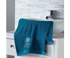 douceur dintérieur serviette de toilette 50x90 cm eponge brodee talisman bleu