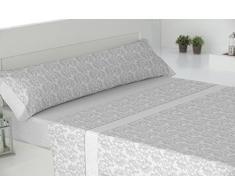 Todomueble Paduana Fer Parure de lit composé par Drap-Housse, Drap Plat et 2taies doreiller 200x28x4 cm Gris