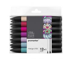 Winsor & Newton marqueur, Manga Chibi, Set de 12 + 1 blender
