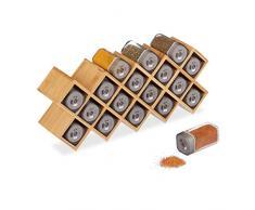 Relaxdays 10025951 Etagère 18 saupoudreuses, Bambou, Verre, Organiseur Cuisine à épices, HLP 18x44x9,5 cm, Naturel, Transparent