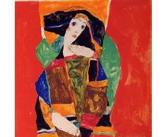 Legendarte Tableau, Impression sur Toile - Portrait dune Femme Egon Schiele - cm. 60x60