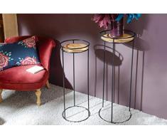 Adept Home Set de 2 sellettes en métal, Collection Feuille dor