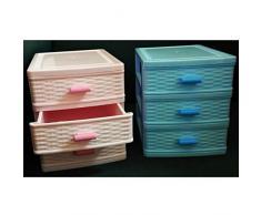TrAdE Shop Traesio Commode 3 tiroirs en Plastique Effet Osier Porte Objets Coffre minuscules