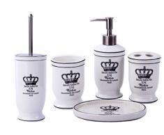 GMMH Couronne Vintage maison de campagne de Salle de Bain Salle de Bain Set daccessoires Distributeur de savon Brosse WC Céramique (Lot de 5)