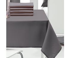 Les Ateliers du Linge - Nappe - Nappe rectangulaire - Nappe 100% Polyester - Nappe entretien facile - Nappe antitache - Nappe table salon - 140 x 240 - Gris - Uni