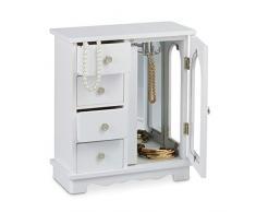 Relaxdays 10020429 Boîte à bijoux HxlxP: 30 x 26 x 11 cm grande armoire à bijoux en bois avec 4 mini tiroirs et 1 porte avec un miroir commode écrin cintre à bijoux porte-bijoux pour les chaînes, brun rouge