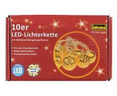 Idena Guirlande lumineuse 30109Décoration boule avec 10LED Blanches Chaudes et Minuterie, Env. 165cm, plastique, or