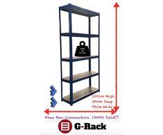 75 cm de large Bleu Abri de jardin Garage Utility Serre de stockage étagère rayonnages Capacité de 875 kg, gratuit Bay Connecteurs, 5 ans de garantie