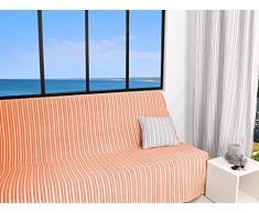 Soleil dOcre Cotonnade Jeté de Canapé Polyester Coton Orange Corail 170 x 250 cm