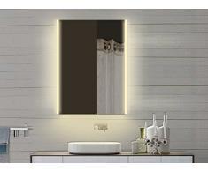 Miroir lumineux miroir de salle de bain Miroir de salle de bains avec lumière dans chaud & froid–60x 82cm