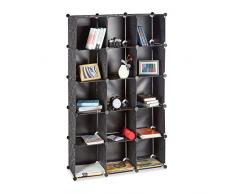 Relaxdays Étagère cubes rangement penderie armoire 15 casiers plastique chaussures modulable, noir