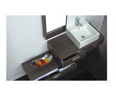 MobilierMoss 13432521899 Tonia Ensemble de salle de bain design 1 vasque MDF Chêne Gris 100 x 48 x 20 cm