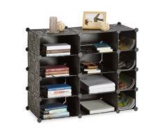 Relaxdays Étagère Cubes Rangement 12 Compartiments Plastique bibliothèque modulable 74 x 92 x 36,5 cm, Noir avec Motifs