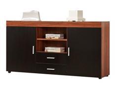 yakoe Noir/Noyer 2 Portes de meubles de chambre armoire poitrine avec 2 tiroirs unité Extra Large, en bois, Noyer/noir