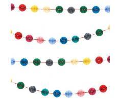 Party Pro Guirlande Mini Boules Alvéolées, Papier, Multicolore, 300 x 4 x 4 cm