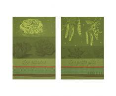 Coucke Lot de 2 torchons Salades et Petits Pois du Potager, Coton, Vert, 75x50 cm