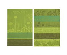 Coucke Lot de 2 torchons et Un carré éponge Aromates du Jardin, Coton, Vert, 75x50 cm