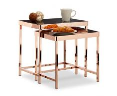 Relaxdays Table d'appoint COPPER plateau en verre noir lot de 2 déco table basse moderne, cuivre