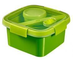 CURVER | Smart Lunch box carrée 1.1L avec couverts, Vert, Smart, 16,2x16,2x8,8 cm