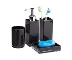 Relaxdays Accessoires Salle de Bain Set 4 pièces Distributeur Savon gobelet Brosse à dent Porte-Savon Plastique, Noir