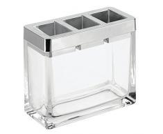 InterDesign Casilla Porte-Brosse à Dents, Rangement brosses à Dents en Verre et Plastique, Porte Brosse à dent pour Le lavabo, Transparent et argenté