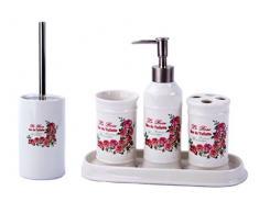 GMMH badset campagnard Vintage Roses Salle de Bain Set daccessoires Distributeur de Savon Brosse WC Céramique