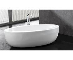MobilierMoss 1413265 Basilia Baignoire ilot au design ovale Blanc 186 x 89 x 57,5 cm