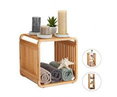 Relaxdays, nature bambou, salle de bain, étagère sur pieds arrondie, carrée, différentes tailles, 2 étages, 33 x 33 x 33 cm