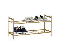 Relaxdays Meuble à chaussures SANDRA avec 2 étages étagère en métal HxlxP: 33,5 x 69,5 x 26 cm pour 6 paires commode avec poignées marron clair