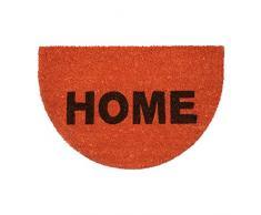 Relaxdays Paillasson en fibres de coco tapis de sol porte entrée demi-rond HOME demi-lune dessous antidérapant en caoutchouc PVC L x l 60 x 40 cm, orange