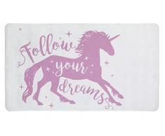WENKO 23161100 Tapis antidérapants de baignoire Unicorn, Blanc/Rose, 70x40 cm