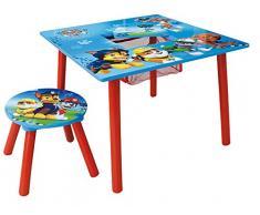 FUN HOUSE PAT'PATROUILLE Table carrée avec Rangement/Tabouret pour Enfant, MDF, 65 x 65 x 10 cm