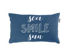 Le Jardin des Cigales Coussin 30 x 50 cm Coton imprimé Pacifique indigo smile