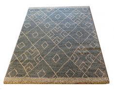 Marjan daspect Diamant/Rhombus Motif géométrique épais doux Tapis à poils longs, Polypropylène, Bleu sarcelle, 170 x 120 x 4 cm