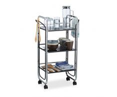 Relaxdays Chariot à roulettes en métal avec 3 étages desserte de cuisine poignées rangement bureau HxlxP: 85,5 x 51,5 x 31 cm, noir